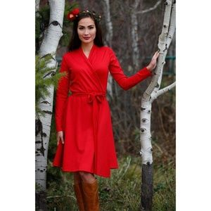 Shabby Apple Christmas Red Cranberry Wrap Dress